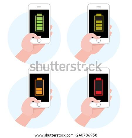 Battery symbol on smartphone icon set - stock vector