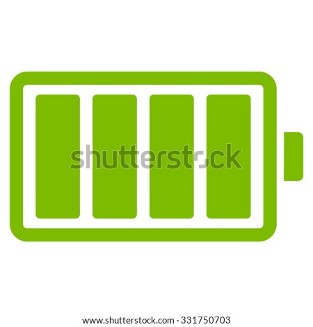 Battery vector icon. Style is flat symbol, eco green color, rounded angles, white background.