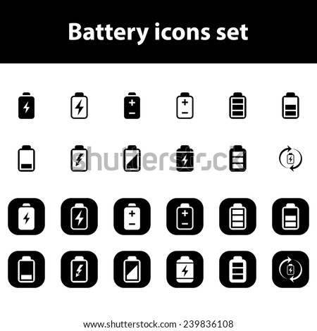 Battery vector icons set - stock vector