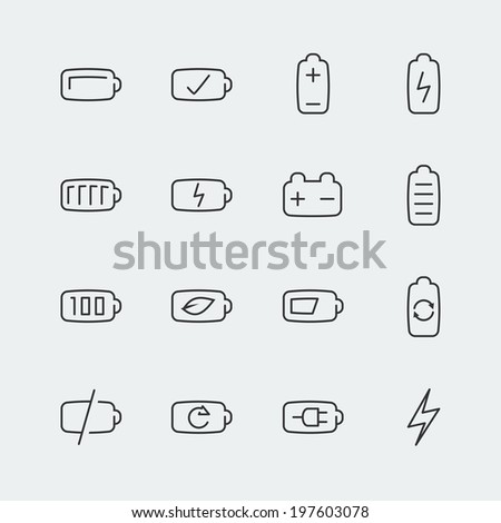 Battery vector icons set, thin line - stock vector