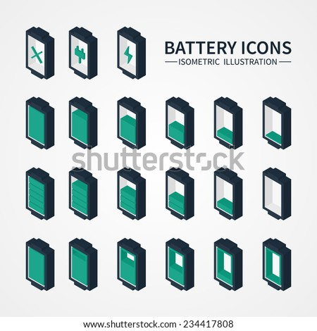 Battery web icons, symbol, sign and design elements in isometric style. Charge level indicators. Vector illustration. - stock vector