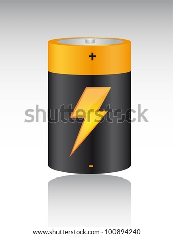 battery with bolt with shadow background. vector illustration - stock vector
