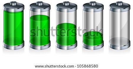 Battery with level indicator on white, energy concept, vector illustration - stock vector