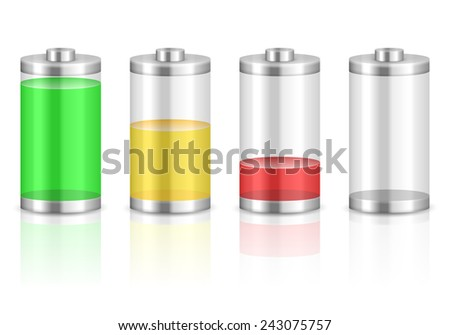 Battery with the level of charge. Vector illustration.