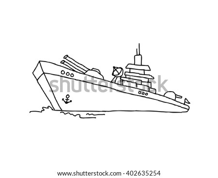 Battle ship cartoon - stock vector