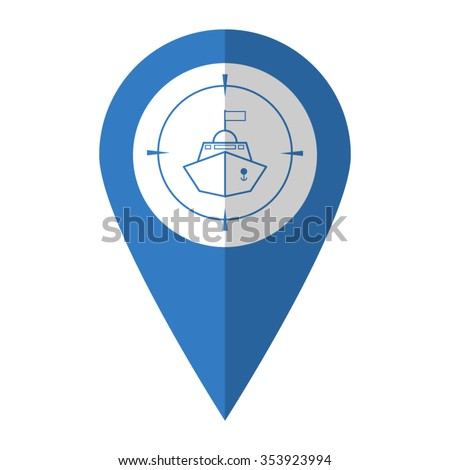 Battle ship - vector icon; blue map  pointer - stock vector