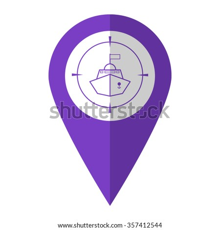 Battle ship - vector icon;  violet map pointer - stock vector