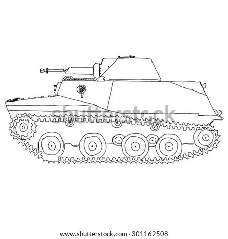 Battle Tank. Doodle style - stock vector