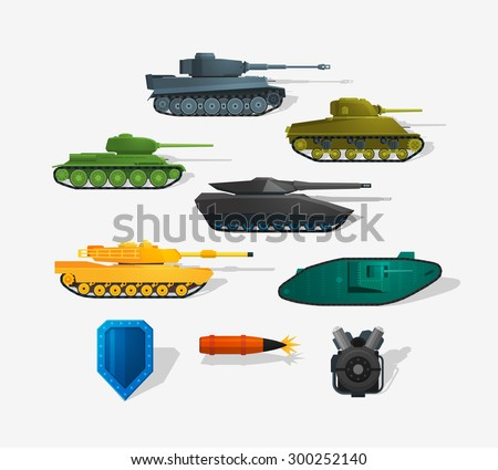 Battle tanks detailed icons in flat style and long shadow.  Infographics elements. Detailed flat style. - stock vector