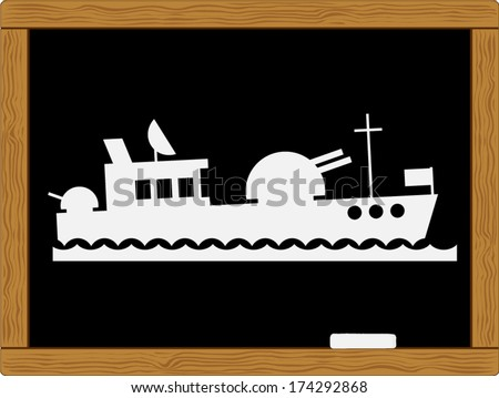 battleship ship - stock vector