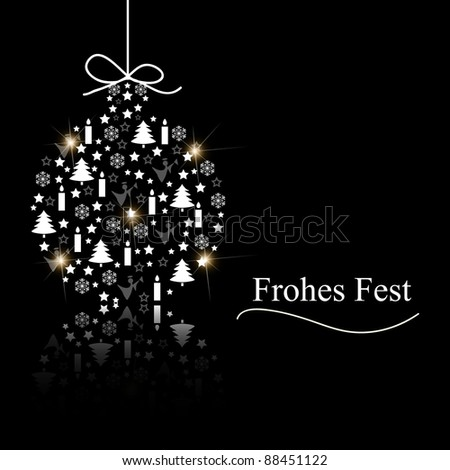 Bauble with black background - stock vector