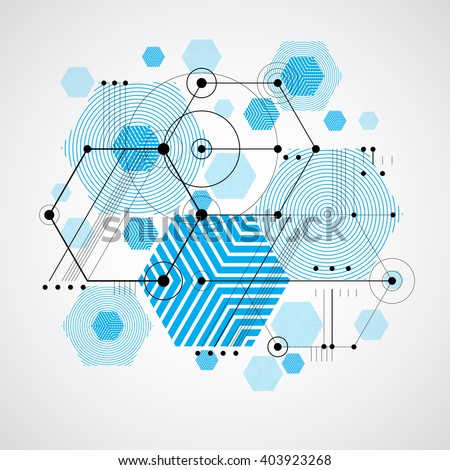 Bauhaus retro wallpaper, art vector blue background made using grid, circles and rhombuses. Geometric graphic 1960s illustration can be used as booklet cover design. Technological pattern.
