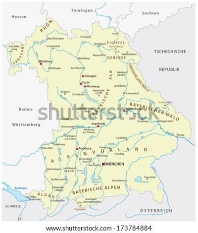 bavaria map - stock vector
