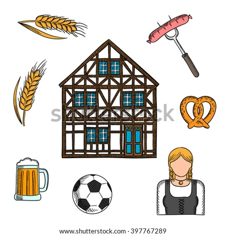 Bavarian Culture Icons Beer Pretzel Grilled Stock Vector
