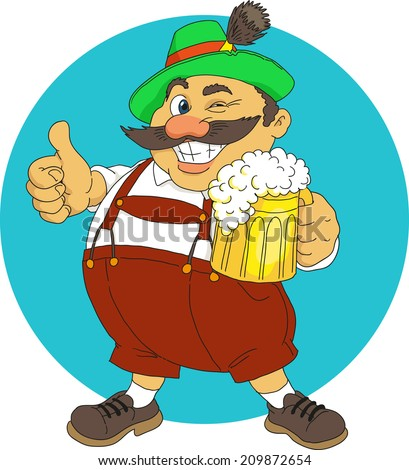 Bavarian with beer - stock vector