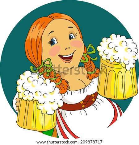 Bavarian woman with beer mugs