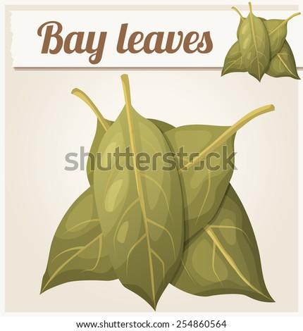 Bay leaves. Detailed Vector Icon. Series of food and drink and ingredients for cooking. - stock vector