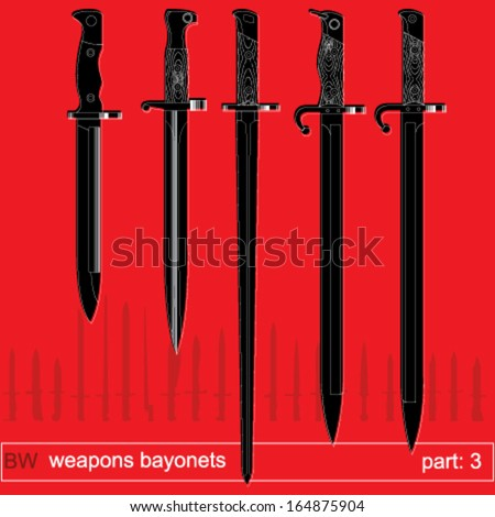 bayonets and tactical knives. equipment of different armies in the world. graphical vector set - stock vector
