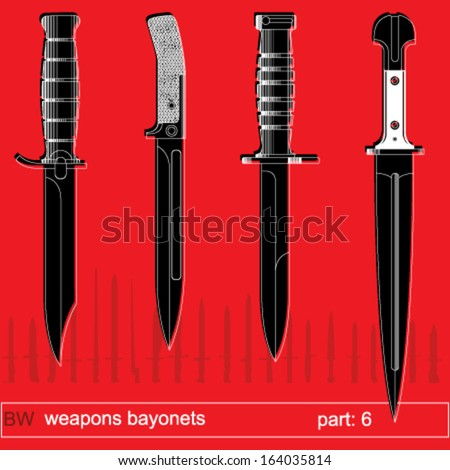 bayonets and tactical knives. equipment of different armies in the world. graphical vector set on red background - stock vector