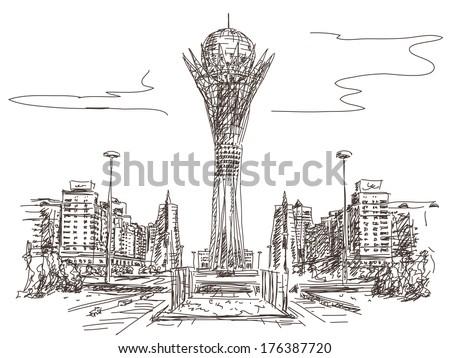Bayterek Tower in Astana. Symbol of Kazakhstan Vector sketch - stock vector