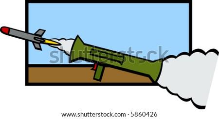 bazooka firing a rocket - stock vector