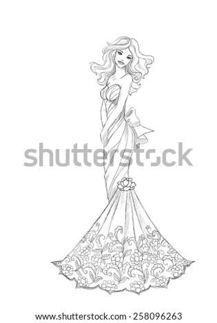 BBeautiful Bride In Vector Sketch Retro Vintage Wedding Dress Design