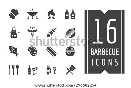 BBQ and Food Icons Vector Set. Outdoor, kitchen, meat, grill, burger, eat, food symbols. Stock design elements. Key ideas is outdoor food, barbecue party, black icons, logo elements. - stock vector