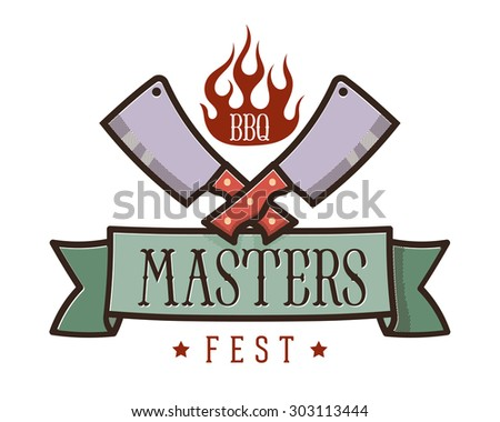 BBQ and grill fest emblem: two crossed meat cleavers and flame icon over the heraldic ribbon // Logo - stock vector