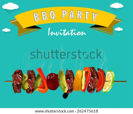 BBQ, Barbecue Menu, Party invitation Infographics - vector eps10 - stock vector