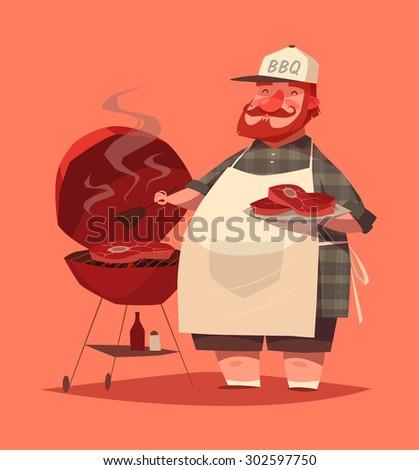 BBQ chef. Vector illustration. - stock vector