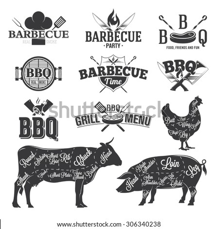 BBQ Emblems and Logos - stock vector