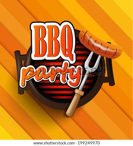 BBQ Grill elements, Typographical Design  - stock vector