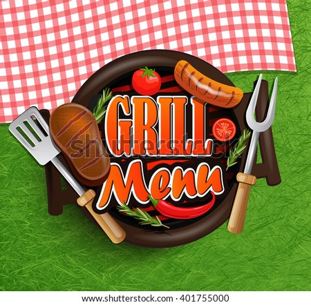BBQ Grill elements - Typographical Design Label or Sticer on the background of green grass and rustic tablecloths in red and white squares. Design Template. Vector illustration. - stock vector