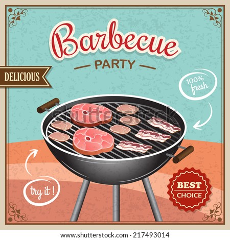 Bbq grill party best choice flyer promo restaurant poster vector illustration - stock vector
