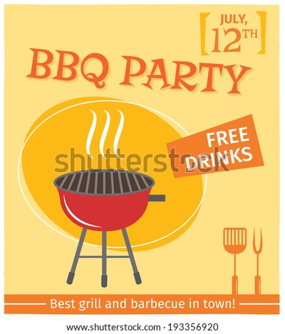 stock vector bbq grill party best in town flyer promo restaurant poster vector illustration 193356920 - Каталог — Фотообои «Еда, фрукты, для кухни»