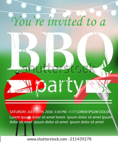 Summer bbq invitation stock images royalty free images vectors bbq grill party invitation template vector illustration stopboris Image collections