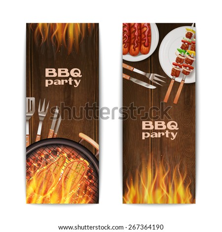 Bbq grill party vertical banners set with realistic hot fried on fire food isolated vector illustration - stock vector