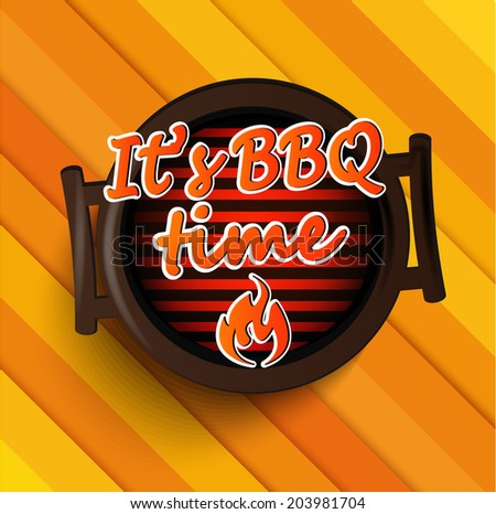 BBQ Grill sticer. Typographical Design  - stock vector