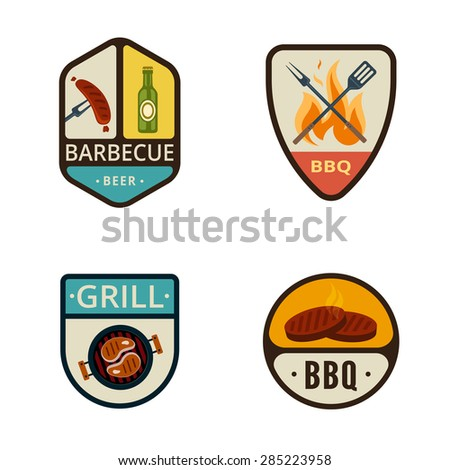 BBQ Grill Vintage Labels vector icon design collection. Shield banner sign. Barbeque Cooking Logos. Sausage, Beer, Fire Flame, Pan, Steak flat icons. - stock vector
