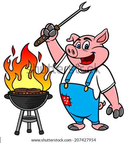 BBQ Grilling Pig - stock vector