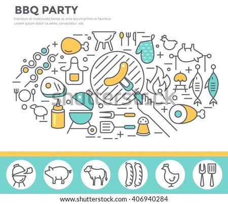 BBQ invitation concept illustration , thin line, flat design - stock vector