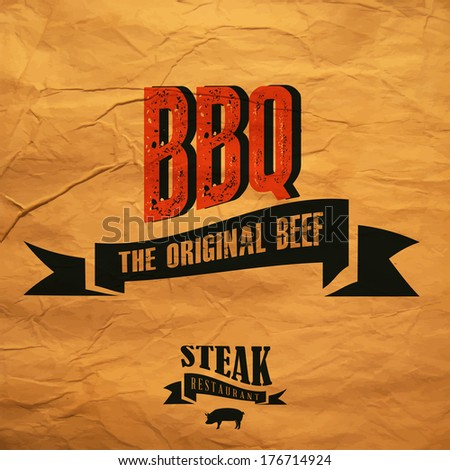 BBQ label  - stock vector