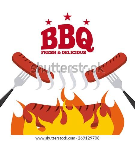 BBQ menu design, vector illustration eps10 graphic - stock vector