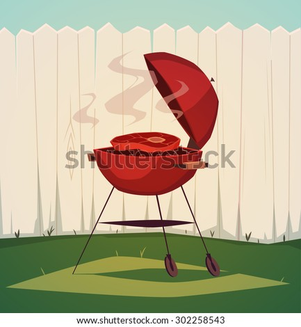BBQ on the lawn. Vector illustration.