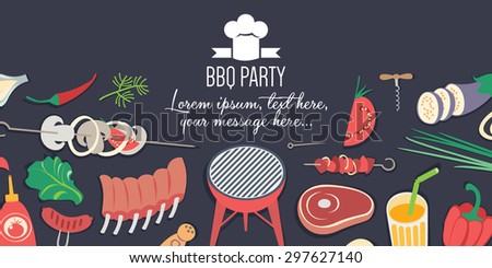 BBQ Party banner - stock vector