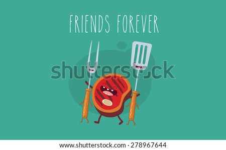 BBQ party. Beef steak and barbecue tools. Vector cartoon. Friends forever. Comic characters. - stock vector