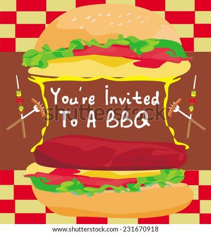 BBQ Party Big Burger invitation - stock vector