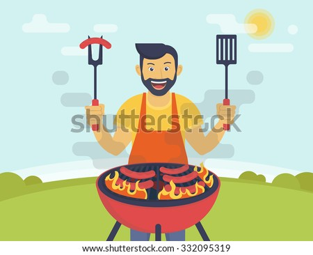 bbq party flat illustration smiling guy stock vector hd (royalty