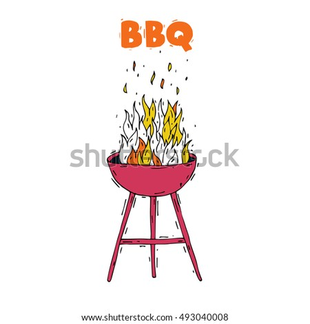 BBQ party grill with fire. Hand-drawn, lino-cut. Lettering. Flat design vector illustration.
