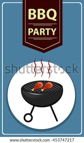BBQ party grill with fried chicken drumsticks. Oktoberfest vector